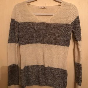 Pink Rose grey and cream striped sweater medium